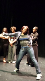 Cast member Erika Moore is an accomplished dancer as well as an actor. She's in constant motion.